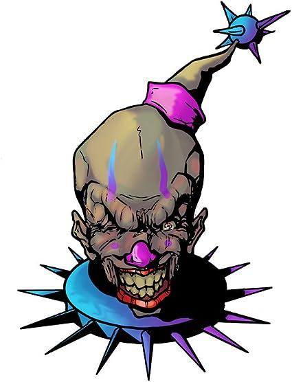 Vinyl Sticker Purple and Blue Fun and Evil Clown Frightening