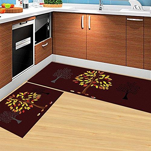 HEBE Kitchen Rugs Set of 2 Piece Non-Skid Kitchen Mats and Rugs Machine Washable Kitchen Rug Runner Doormats Set(16