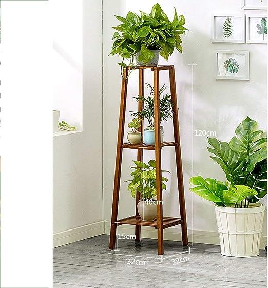 WANHJ Soporte de Exhibición de Soporte de Flores - Escalera para Plantas Estante de Almacenamiento Multiuso, Sala de Estar Baño Cocina Jardín, Estante de Flores con Maceta Estante Estante de Madera: Amazon.es: