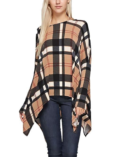 ... Vintage Tops Invierno Otoño Anchas Cuello Redondo Asimetricas Blusas Informal Flojo Moda Clásico T Shirt Blusones: Amazon.es: Ropa y accesorios