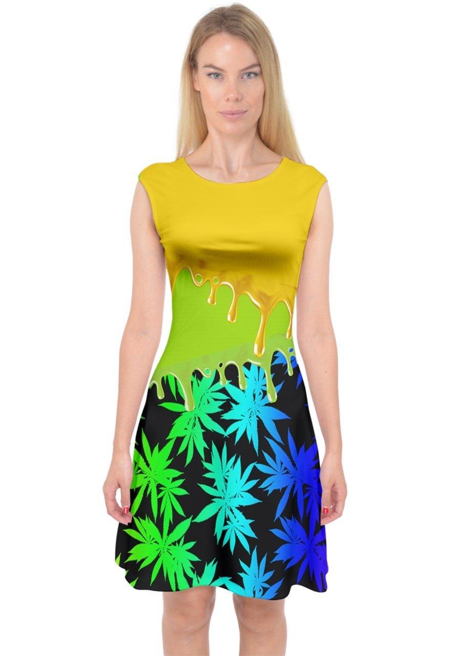 PattyCandy Womens Liquid Cannabis Marijuana Style Capsleeve Midi Dress,XS-3XL