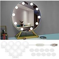Led-spiegellamp, 10 leds, spiegellamp, make-upverlichting, Hollywood-stijl, dimbaar, spiegellamp, make…