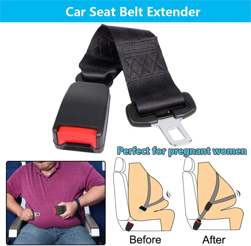 E-Mark Safety Certification Retractable Seat Belt Extension for Most Cars HY-MS 2 Pack Car Seat Belt Extender 7//8 Metal Tongue