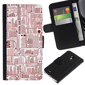 "Samsung Galaxy S4 Mini i9190 / i9195 (Not For Galaxy S4) , la tarjeta de Crédito Slots PU Funda de cuero Monedero caso cubierta de piel ("" Newspaper Ads Red Ink Printing Letters Writing"")"