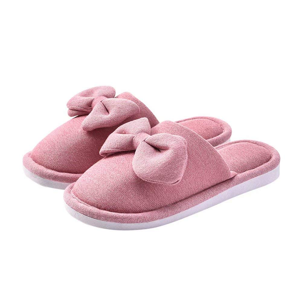 lulujinyu Womens Knitted Cotton Closed Toe Slide Slipper with Bow