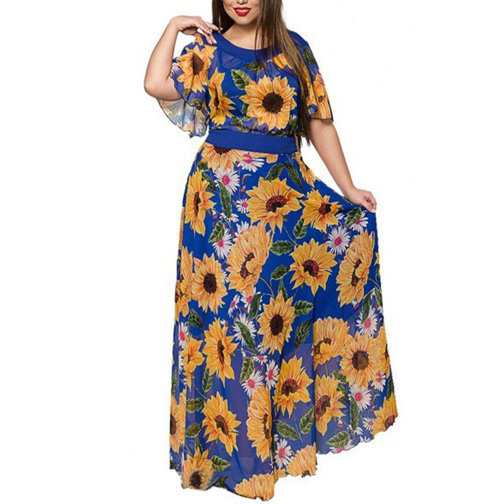 SAFJK dress 2018 Women Boho Floral Chiffon Summer Long Beach Dress Print Party Maxi Vestido at Amazon Womens Clothing store: