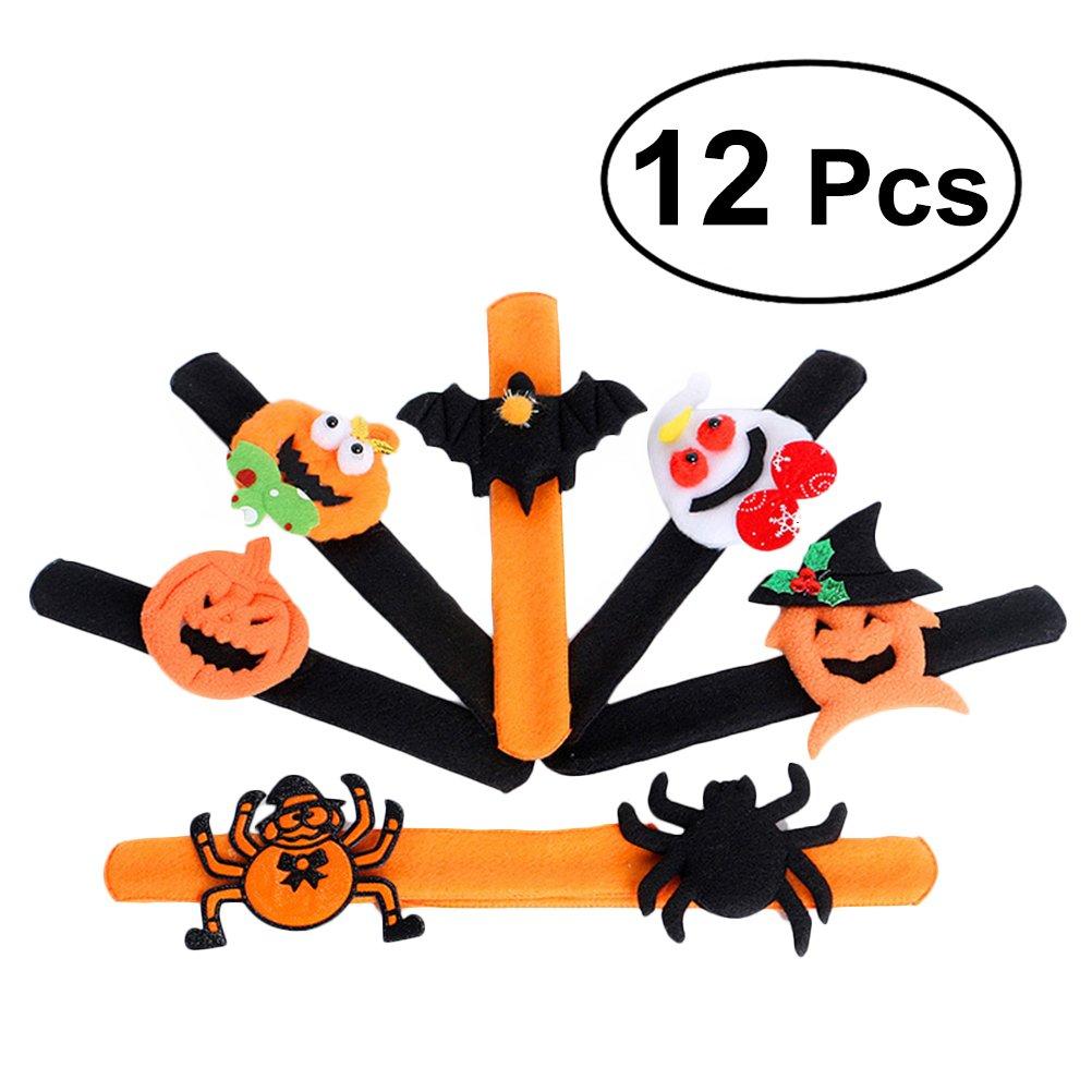 OULII Snap Bracelet Kids Halloween Party Favours Spider Pumpkin Bat Design Pack of 12