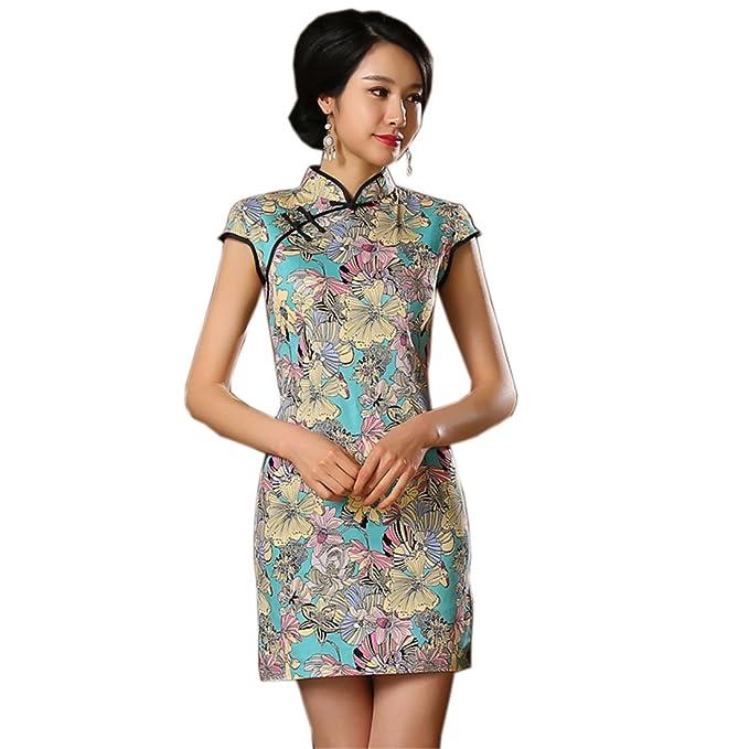 YueLian Cotone Cheongsam Vestito Mini Estivo  Amazon.it  Abbigliamento 4b948bed0f7