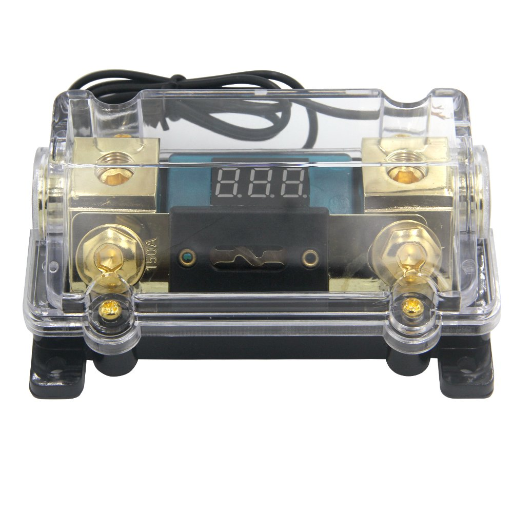 ZOOKOTO 150A Fuse Holder,Car Stereo Audio Led Display Digital Voltage Inline ANL Fuse Holder 0 2 4 Gauge in out with 150 Amp Fuse