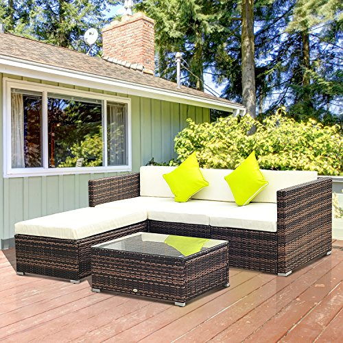 Outsunny 5PC Rattan Furniture Set Garden Outdoor Sectional Sofa Coffee Table Combo Patio Furniture Metal Frame w//Cushion Pillows Brown