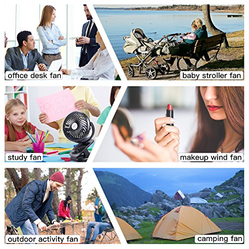 Yostyle Rechargeable Battery Operated Clip On USB Fan, Mini Stoller Fan, 4400mAh Battery/USB Powered Desk Fan with 360 Degree Rotation for Baby Stroller, Office, Car, Gym, Travel, Camping by Yostyle (Image #6)