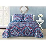 3 Piece Exotic Mandala Medallion Pattern Reversible Quilt Set Queen Size, Printed Graphic Garden Flowers Paisley Bedding, Reverse Geometric Rings Themed, Tribal Indie Nature Emblems Design, Blue, Red