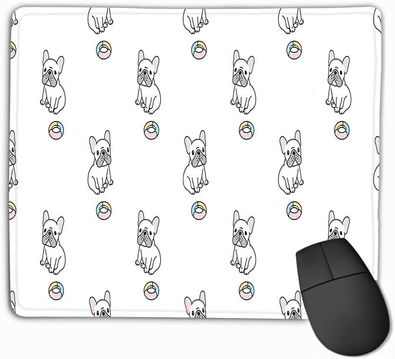 Amazon Com Mouse Pad Dog French Bulldog Toy Scarf Isolated Cartoon Repeat Wallpaper Tile Background Doodle Cute Dog Small Rectangle Rubber Mousepad 11 81 X 9 84 Inch Office Products