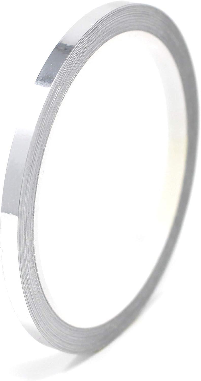 10 Meter 1,79/€//Meter Glanz Zierstreifen Auto Motorrad Boot Modellbau Silber Chrom Finest Folia Dekorstreifen Seitenstreifen Klebestreifen Chrom Rot, 50mm Breite