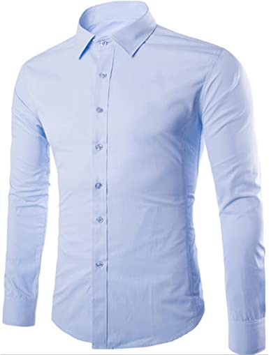 Para hombre Essential Camisa Informal Slim Fit Manga Larga ...