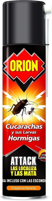 Orion Attack - Insecticida contra Cucarachas y Hormigas Aroma Naranja - 400 ml