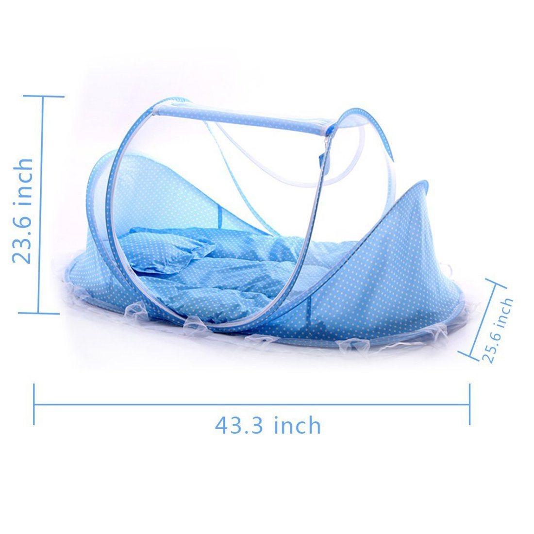 Baby Travel Bed, Portable Folding Baby Crib Mosquito Net Tent Foldable Baby Cots Newborn Foldable Crib for 12-24 Month (Blue Tent+Mat) HLM