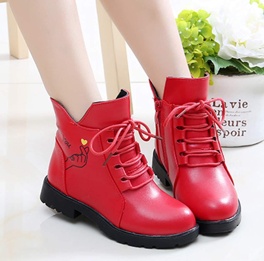 VECJUNIA Girl's Cartoon Ankle Martin Boots Zip Up Shoes School Uniform (Red, 2.5 M US Little Kid) by VECJUNIA (Image #5)