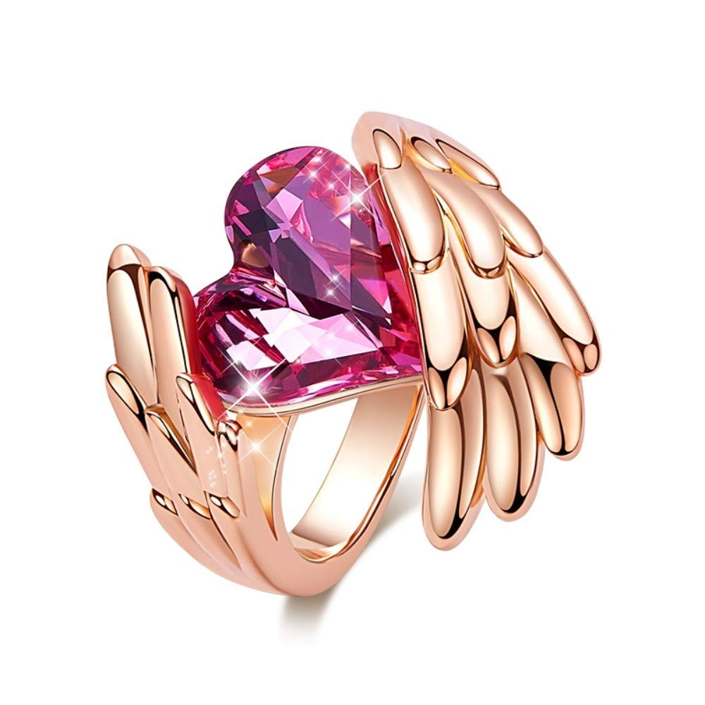 THTHT Women Rings Made with Sparkling Crystals Rose Gold Finger Rings for Girls Party Jewelry Red Heart Ring