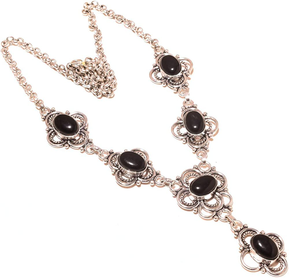 Handmade Jewelry Black Onyx Sterling Silver Overlay Necklace 17-18 Good Looking