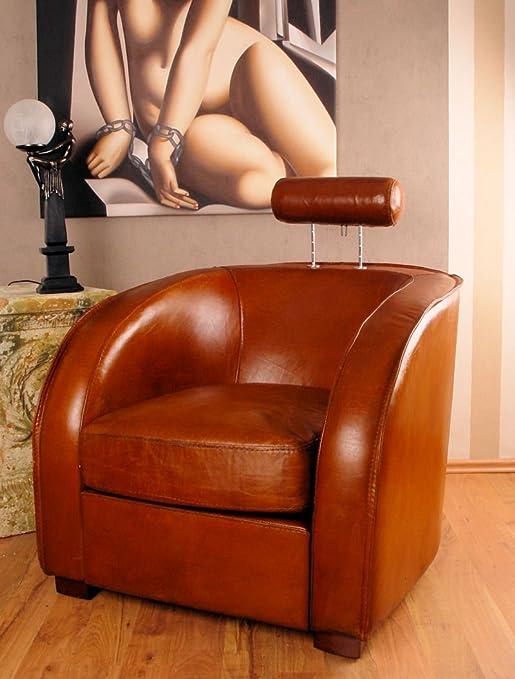 Franzosischer Leder Sessel Art Deco Vintage Kolonial Clubsessel