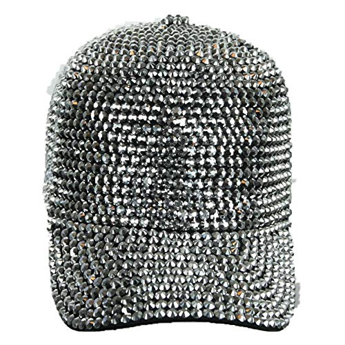Rhinestone Studded Baseball Cap Bling Bling Cotton Hat Hip Hop Caps Fashion Hats (Silver)
