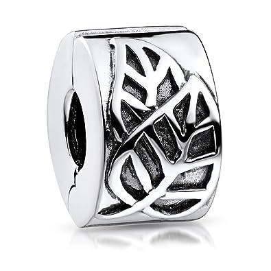 MATERIA 925 Silber Bead Clip Anhänger für Charm Armbänder Unisex rhodiniert
