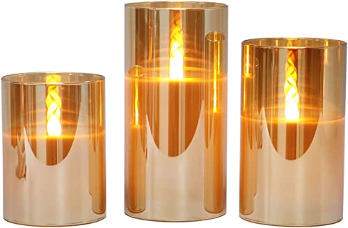 Gold Glass Battery Operated Flameless Led Candles with 6H Timer, Warm White Flickering Light, Batteries Included – Set of 3
