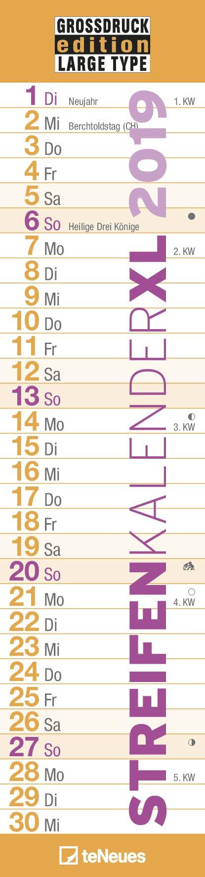 Grossdruck 2019 - Streifenkalender, Notizkalender, Spiralbindung  -  15 x 64 cm