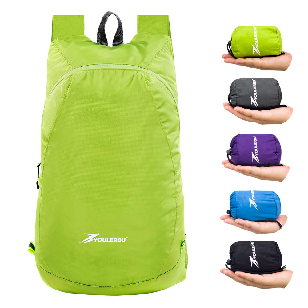 YOULERBU 20L Lightweight Packable Backpack, Water Resistant Travel Hiking Foldable Daypack, Camping Outdoor Small Backpack for Men Women