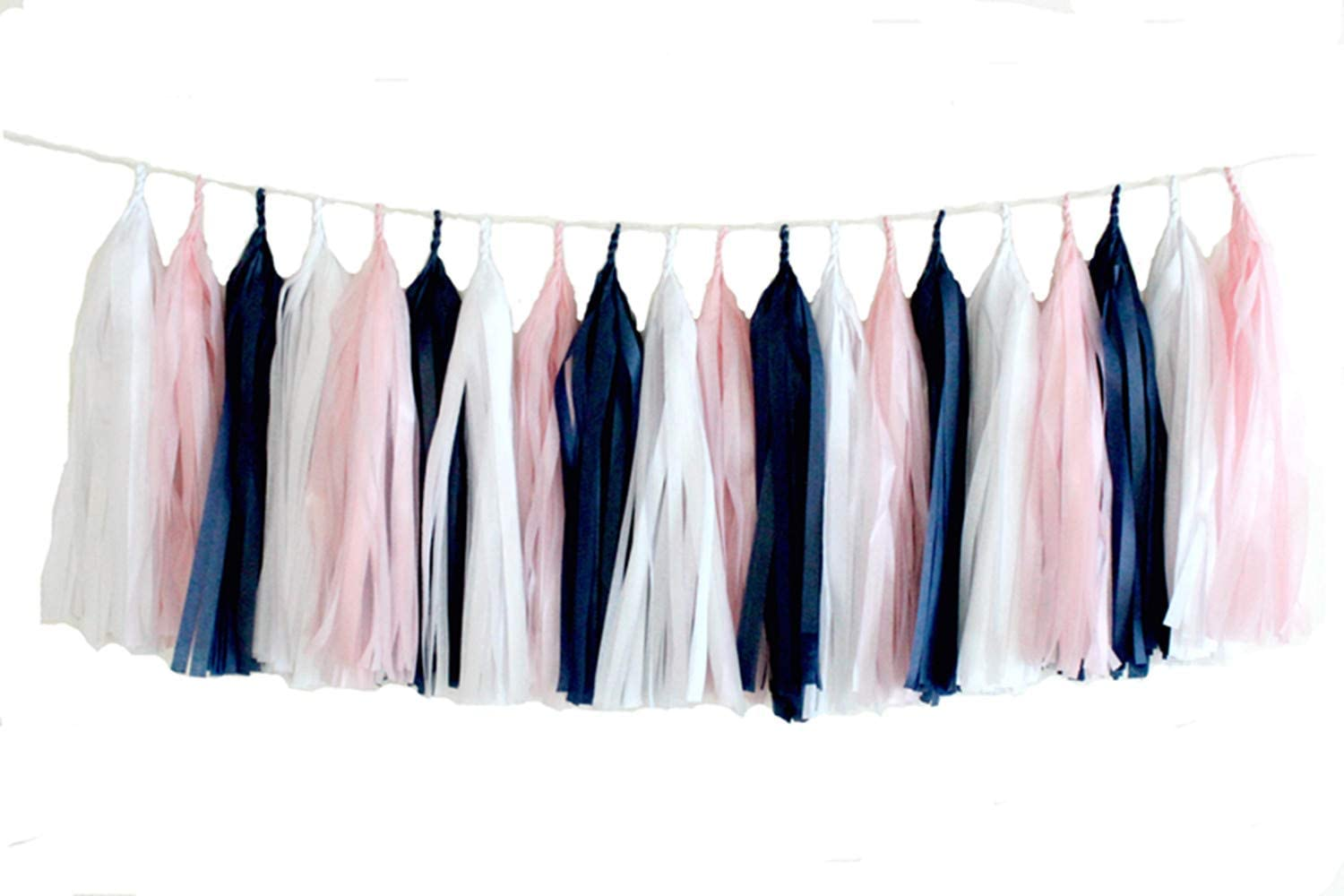 ASSEMBLED Navy and Pink Garland Tissue Paper Tassels Garland Kit Choose your  quantity Sets of 6 to 50