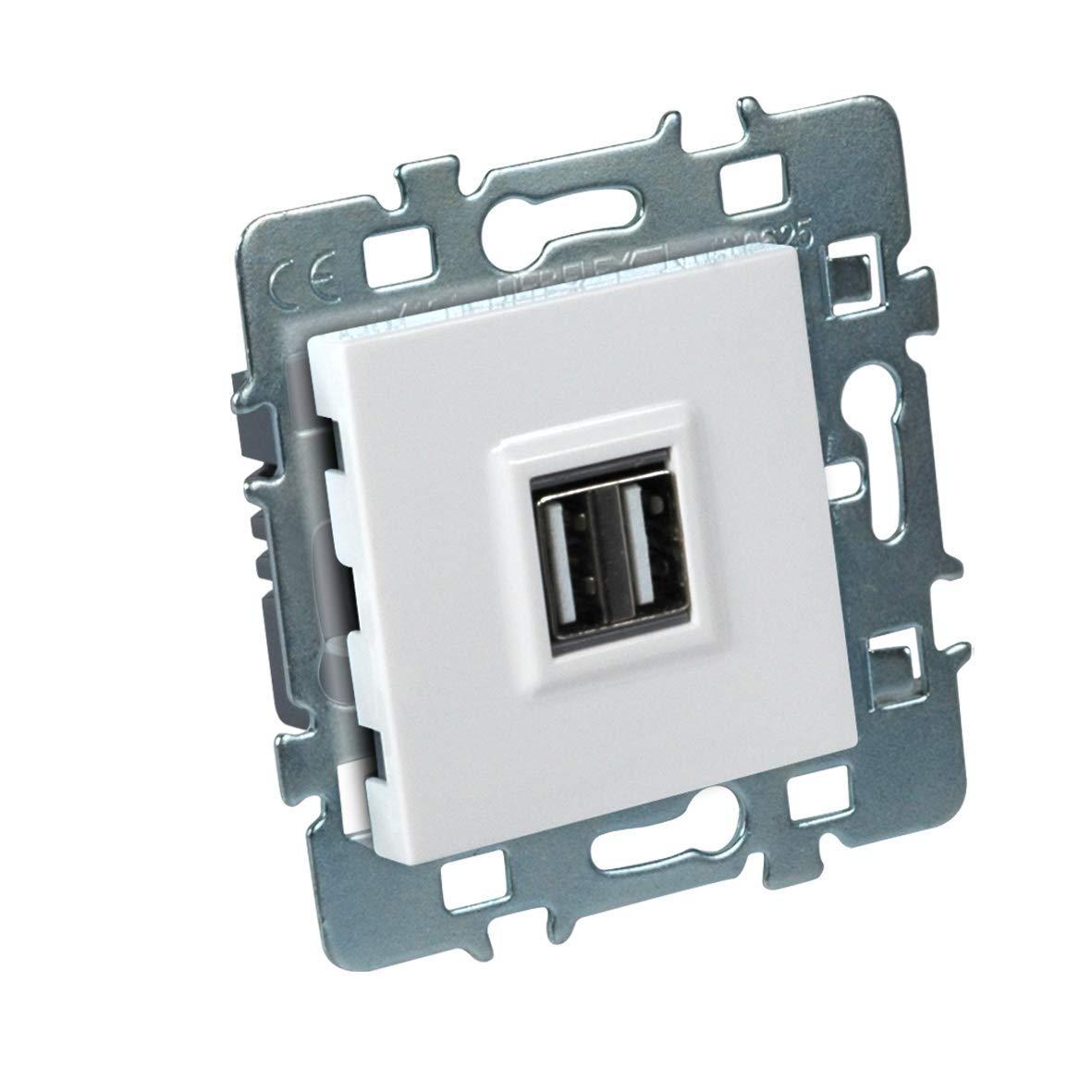 DEBFLEX Casual M/écanisme USB Double 2.1A Support m/étal Cache Blanc