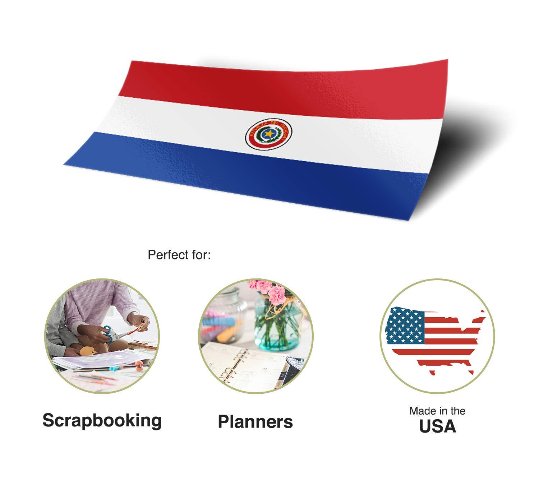 Desert Cactus Paraguay Country Flag Sticker Decal Variety Size Pack 8 Total Pieces Kids Logo Scrapbook Car Vinyl Window Bumper Laptop V