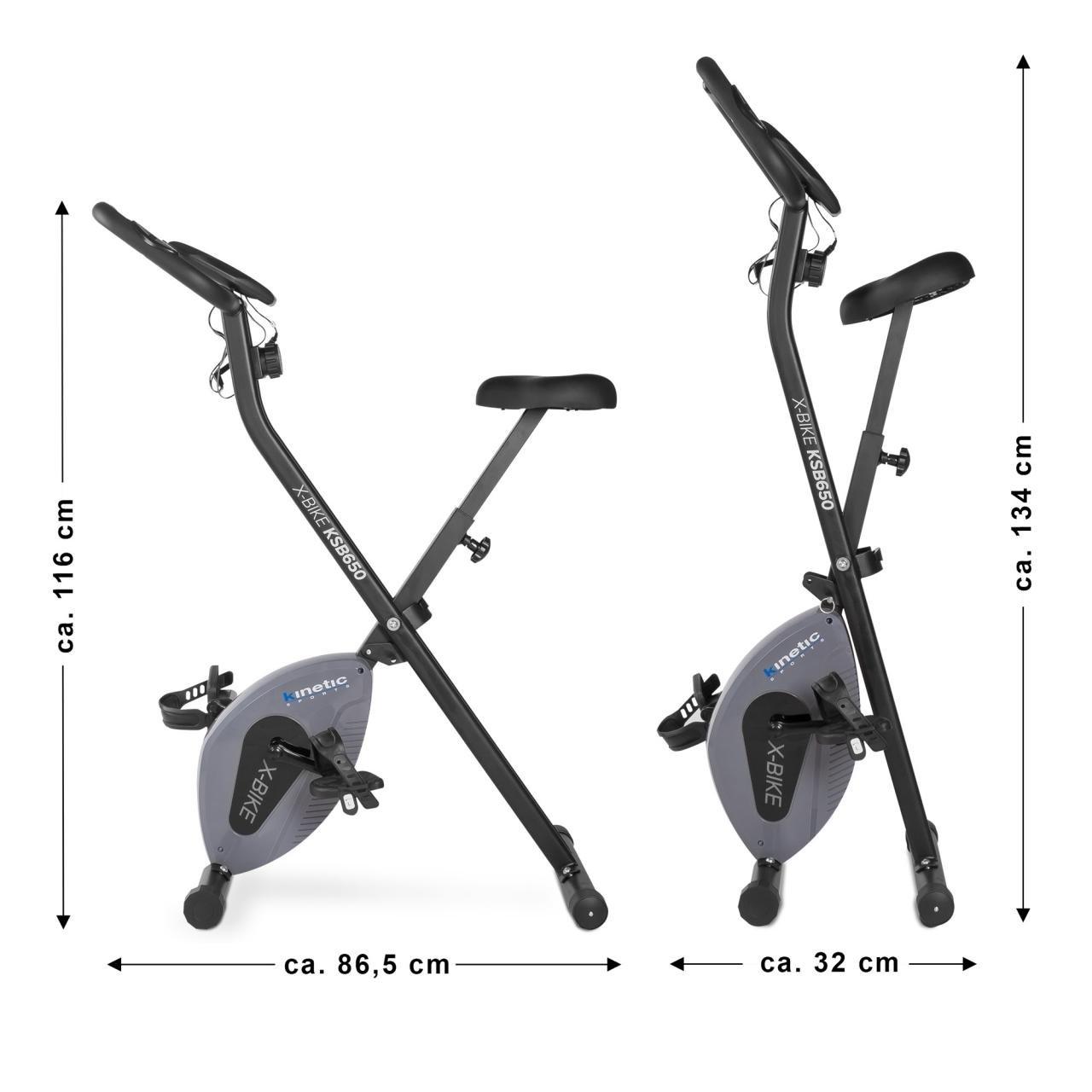 Kinetic Sports Fitnessbike Fitnessfahrrad Ergometer Heimtrainer Hometrainer Fahrrad klappbar Magnetbremssystem Trainingscomputer Handpulssensoren