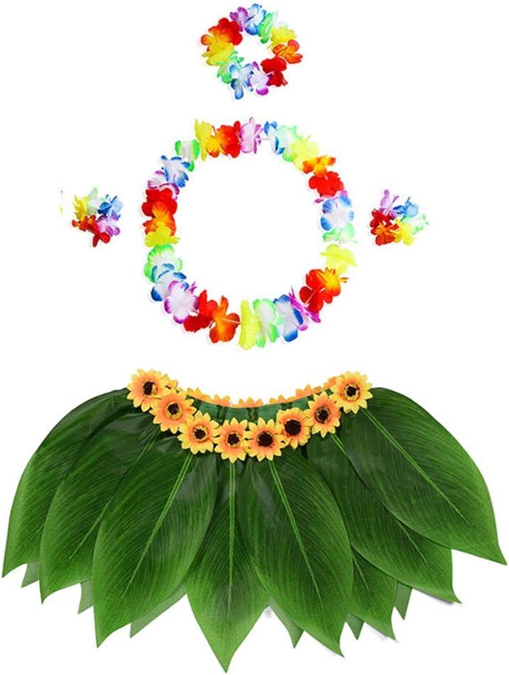 SMARTRICH Falda Hawaiana con Flores, Cintura elástica y Vestido de ...