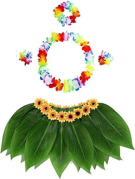 KEKEDA Falda Hawaiana de Cinco Piezas para niña con Falda de ...