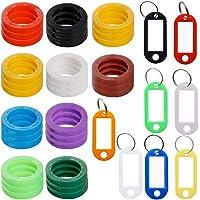 30 piezas Etiquetas de tapa llave con 8 etiquetas de Windows clave,FineGood identificadorllave de plástico fino Cubierta anillo de codificación con etiqueta de identificación de llave para Llavero Identificador mascota bolsa de equipaje