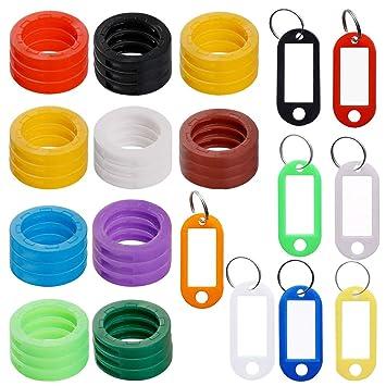 Llavero con 8 etiquetas de ventana, identificador de llaves de plástico, con etiqueta de identificación para llavero, bolsa de equipaje, identificador ...