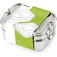 KOFFA Trio | Edelstahl Brotdose mit 3 Fächern | Umweltfreundliche Lunchbox ohne Plastik & BPA | Große Bento Box für Kinder und Erwachsene