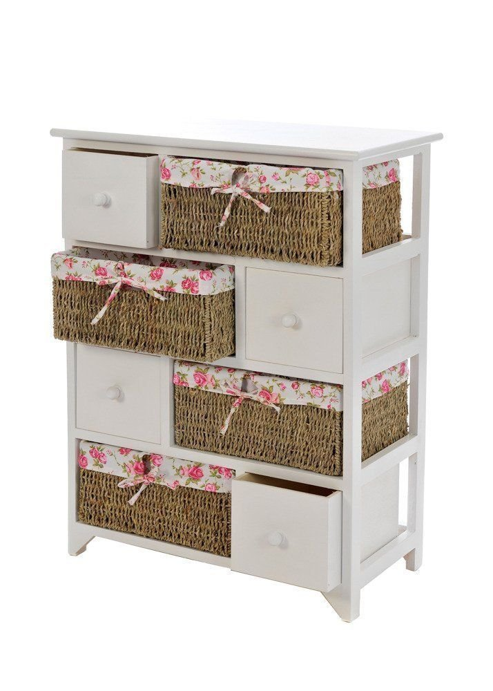 Carmen® HQ SHABBY CHIC BEDSIDE CABINET UNIT TABLE WICKER BASKET MAIZE STORAGE CUPBOARD DRAWER CHEST BATHROOM BEDROOM COMES FULLY ASSEMBLED ☆FREE NEXT DAY DELIVERY☆SAME DAY DISPATCH BEFORE 2PM☆ (2 BASKETS & 2 DRAWERS ( BROWN BENCH ))