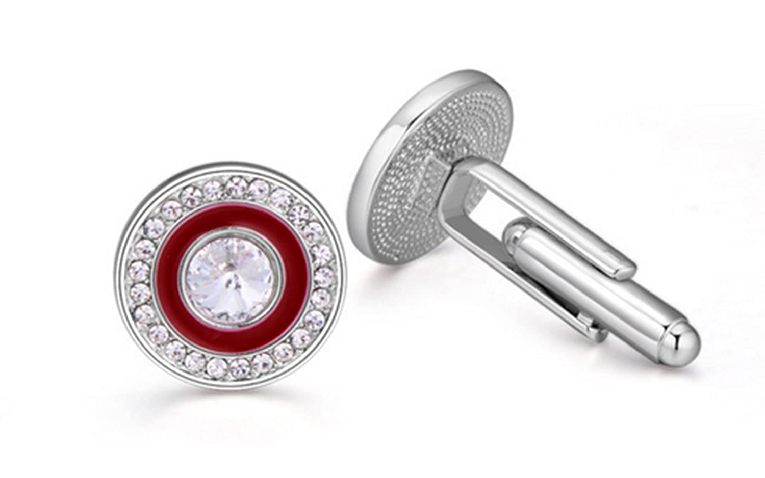Gudeke Austrian Crystal Shirt Rhinestone Gem Cufflinks for Men and Women - the Vast Sky Cristal autrichien Chemise Gem Boutons de manchette strass pour hommes et femmes (rouge)