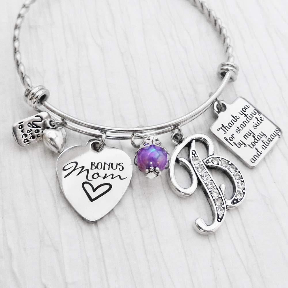 Engraved Mother of Bride Wedding Bridal Personalised Heart Charm Bracelet Gift