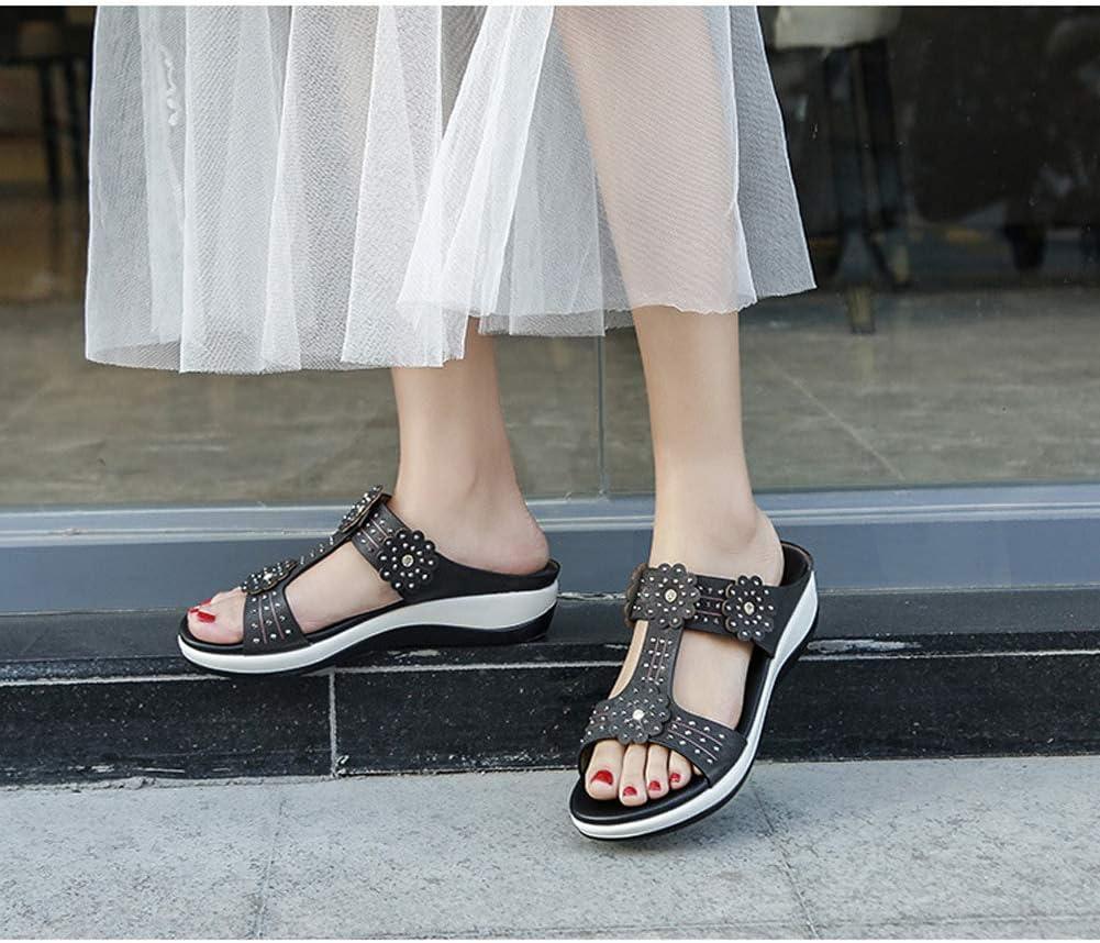 Sandali con zeppa pantofole con strass da donna, sandali e pantofole comodi per il tempo libero in vacanza sulla spiaggia Nero