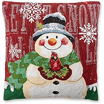 Christmas Throw Pillow Covers (Set of 2) 18 x 18 - Snowman Pillow Cases, Throw Pillow Decor, Holiday Season Decorations for Winter Couch Cushions