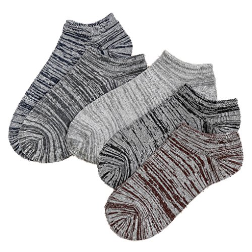 Pack of 5 No Show Liner Socks Cotton Non Slip Low Cut for men