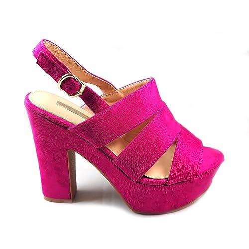 173b3a495b1 La Valenciana Sandalia con Gran Tacon Ancho Para Mujer Buonarotti 1A-18063  Color Rosa Fucsia Muy Elegante - Color - Fucsia