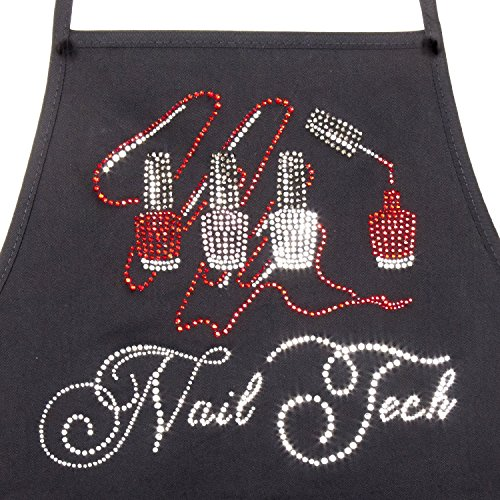 """""""Nail Tech """" - Classic Style - Black Two Pocket Apron with Rhinestone Design"""