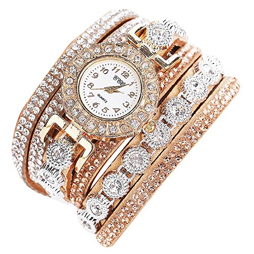 Orcbee  _CCQ Women Fashion Casual Analog Quartz Women Rhinestone Watch Bracelet Watch Gift (Beige)