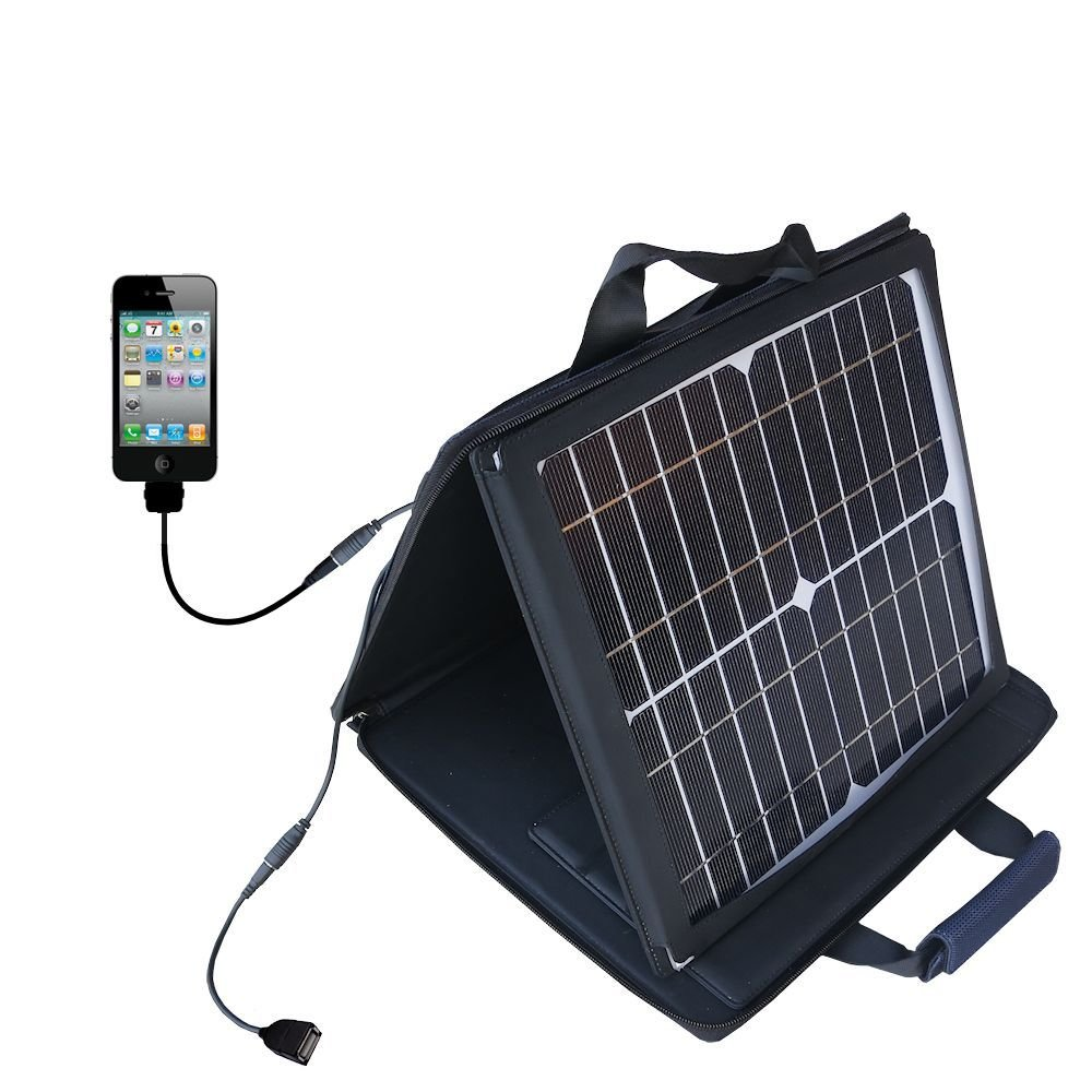 Apple iPhone 4S compatible SunVolt Portable High Power Solar Charger by Gomadic - Outlet- speed charge for multiple gadgets