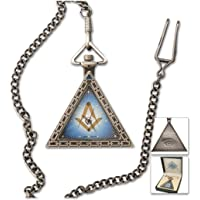 "Triangular Square & Compass Antique Silver Masonic Pocket Watch - 2"" Tall"